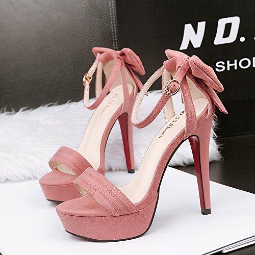 tacón campo silvestre con plataforma Qiqi chica con zapatos Xue fina sandalias de el de impermeable color Rosa alto rojo de Sptnqwf7