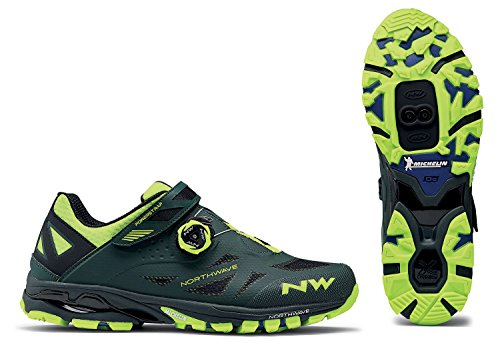 Northwave Man MTB All Mountain Shoes Spider Plus 2 Green Gable/Yellow Fluo from Northwave