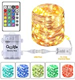 Fairy Lights Plug in String Lights with Waterproof Battery Box- Qoolife Color Changing Lights USB Led Christmas Lights with Remote for Bedroom, Patio, Wedding, Tent,16.4FT 50 LEDs
