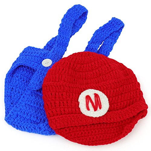 Mario and Luigi Infant 2 Piece Outfit Crochet Hat and Pants - MARIO RED