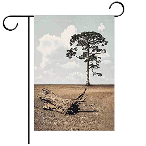 - BEICICI Garden Flag Double Sided Decorative Flags Driftwood Decor A Tree on The Arid Terrain and Driftwood Cloudy Sky Digital Image Cocoa Light Grey Best for Party Yard and Home Outdoor Decor