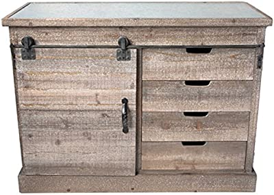 Vintage Distressed Refined Farmhouse Side Board with Sliding Doors Metal and Fir Wood 47 x 23-1/2-in