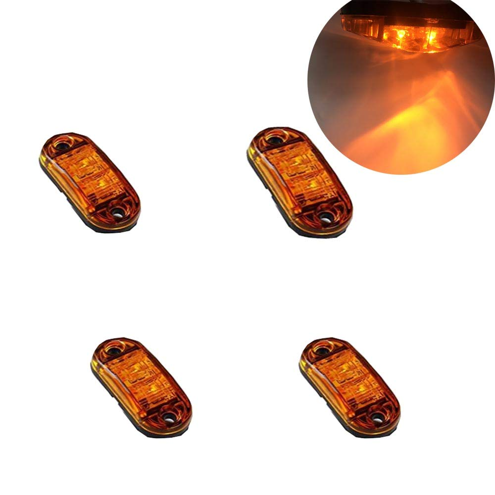 4pcs Side Fender Marker Light Amber Clear Lens Universal Surface Mount LED Light Repeaters for Truck Trailer Boat Sealed Mini Small Trailer Clearance Identification Lights, 2 Diode JINXIU