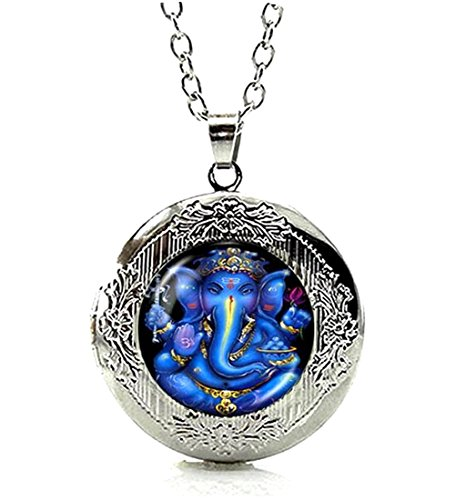 DianaL Boutique Silver Tone Glass Cabochon Lord Ganesh Ganesha Locket Pendant Necklace
