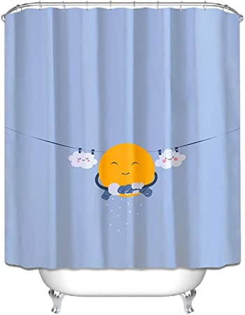 MMZHM Dibujos Animados Impermeable Engrosamiento Moho Ducha Cortina mampara Pantalla Cuarto de baño Cuarto de baño Cortina poliéster, 180 * 200cm: Amazon.es: Hogar
