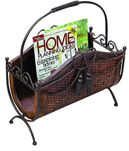 Benzara Wood Metal Magazine Rack with a Wooden Basket