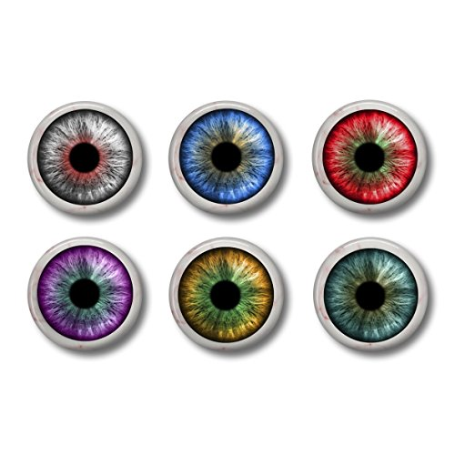 (Eyeball Pinback Buttons or Magnets Set of Six 1 Inch)