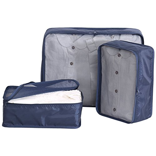 - JJ POWER Travel Packing Cubes Organizers 3 Set for 20 inches Suitcase (3 set navy)