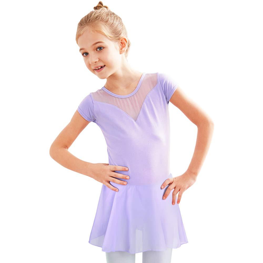 BAOHULU Girls Skirted Ballet Dance Leotards Short Sleeve Tutu Dress