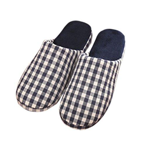 Meijunter Plaid Weich Warm Zuhause Hausschuhe Anti-Rutsch Baumwolle Schuhe Navy