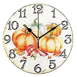 Wamika Round Wall Clock Vintage Pumpkin Maple Leaves Fall Harvest Sunflowers Clock Silent Non Ticking Decorative, Thanksgiving Day Wooden Decor 10 Inch Battery Operated Quartz Desk Clock for Home