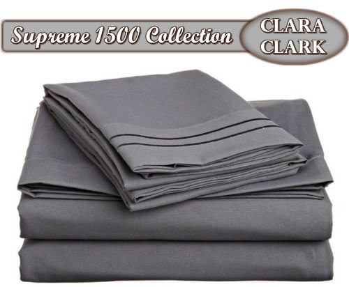 Clara Clark Superior Bed Sheet Set - Double Brushed Microfiber 4-Piece Bed Set - Deep Pocket Fitted Sheet - Queen - Charcoal Gray