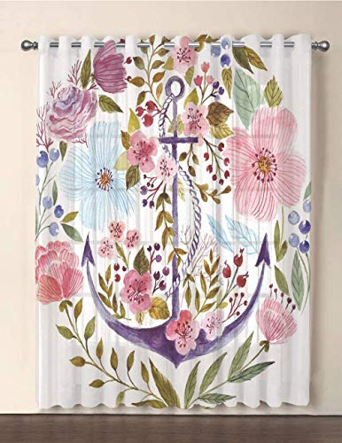 iPrint One Panel Extra Wide Sheer Voile Patio Door Curtain,Watercolor,Nautical Anchor Covered by Flourishing Ivy Blossoms Romance Love Rose Image Decorative,Multicolor,for Sliding Doors(108