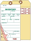 Inventory Tags, 3-Ply Carbonless, Manila, w/Adhesive Strip, Box of 500, Plain, Sequence per factory