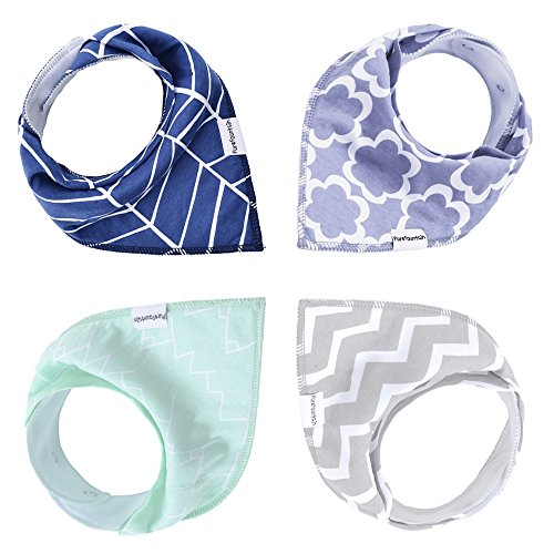 Baby Bandana Scarf Bibs for Teething and Drooling- Triangle Bibs with Snaps - 4 Pack Gift Set for Infant and Toddlers, Organic Cotton, Soft and Absorbent, by ()