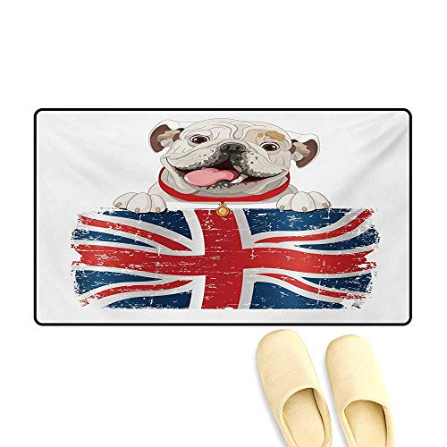 Door Mats,Happy Pet Bulldog Holding a Union Jack Flag of The Great Britain,Customize Bath Mat with Non Slip Backing,Cream Navy Blue Red,24