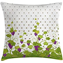 Ambesonne Grapes Home Decor Throw Pillow Cushion Cover by, Winery Ivy Italian Wine Field Floral Vintage Grape Curls Illustration, Decorative Square Accent Pillow Case, 20 X 20 Inches, Violet Green