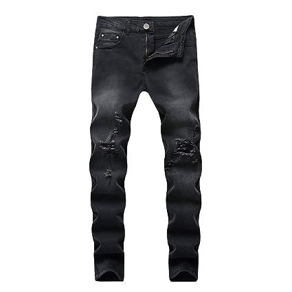 YyZCL Jeans de Ajuste Regular de los Hombres Pantalones ...