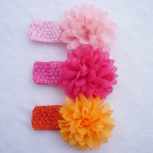 Qs 10 Pieces Baby's Headbands Girl's Headband Chiffion Flower Hair Bow (10 Pack)