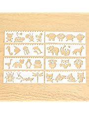 stencils Multi-functional Drawing Stencils Straight & Wavy Lines Rulers Hollow Out Design PP Templates Reusable for Children Students DIY Painting Craft