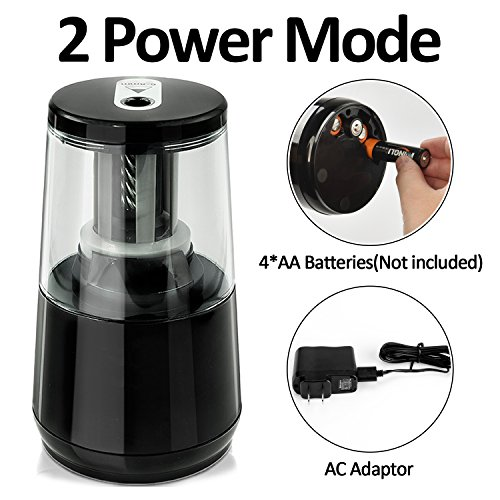 Electric Pencil Sharpener, Blades Durable and Portable Pencil Sharpener Small Electric electric pencil sharpener Heavy Duty with Automatic Sharpens Pencils for Kids Children ,Black Pencil Sharpener Photo #4