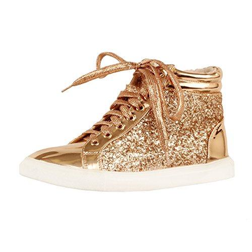 Guilty Schuhe Damenmode Glitter Metallic Schnürschuh Sparkle Slip On - Wedge Platform Sneaker Rosegoldv3 Glitter