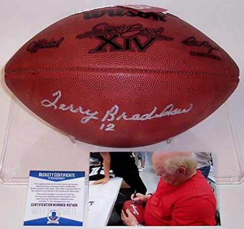 Terry Bradshaw Pittsburgh Steelers Autographed Hand Signed Super Bowl 14 XIV Official Wilson NFL Leather Football - BAS Beckett Authentication
