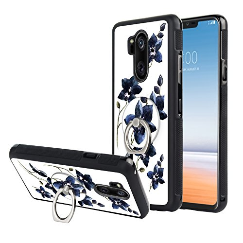 LG G7 ThinQ Case,LG G7 Case, [Anti-skid Raised Edge] Shock Resistant Protective Slim TPU Bumper and PC Lightweight Cover Case with Kickstand Finger Ring for LG G7 ThinQ, LG G7[Vintage Orchid Floral] ()