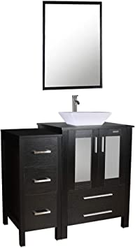 Amazon Com 36 Bathroom Vanity And Sink Combo Counter Top Baisn Square Ceramic Vessel Sink W Faucet Pop Up Drain Removable Vanity Mdf Cabinet W Mirror 1x Main Cabinet 1x Side Cabinet 1x Sink Combo Furniture Decor