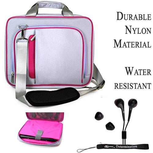 Magenta Silver Travel Smart Carrying Shoulder Bag For Acer TravelMate 8371 Notebook 13.3 inch Screen