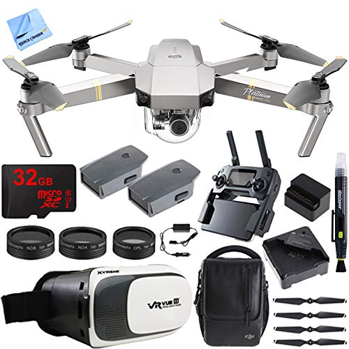 - DJI Mavic Pro Platinum Quadcopter Drone Fly More Combo Pack 4K Camera + Wi-Fi ,3 Batteries, DJI Custom Case , Charging Hub , Three Piece Multi Coated Filter Kit VR Goggles Virtual Reality Experience