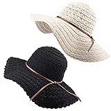 FURTALK Summer Beach Sun Hats for Women UPF Woman Foldable Floppy Travel Packable UV Hat Cotton, Wide Brim Hat (Large Size (Head Size 23.22'), Beige/Black)
