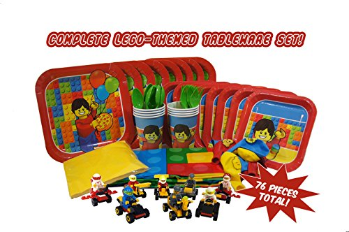 Party Kit for Lego-Themed Parties (Serves 8) Full Easy Clean-Up Tableware Set and Decorations, Plus 8 BONUS Buildable Race Car Toys with Mini-Fig Drivers! Grab these great party supplies!