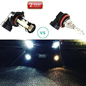 Led Fog Lights Bulbs White H10 9145 - Extremely Super Bright Fog Light Lamps Projector Replacement Kits for Trucks, Cars Plug and Play with 2200 Lumens Cree 50 Watt (Pack of 2), 2 Years Warranty