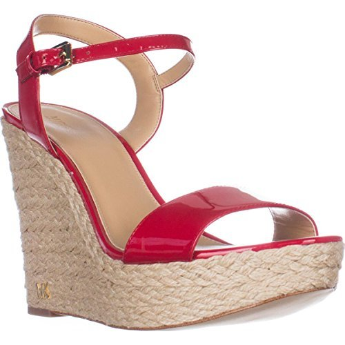 Kors Open Sandals Toe Michael (Michael Kors Womens Jill Open Toe Casual Platform Sandals, Red, Size 11.0)