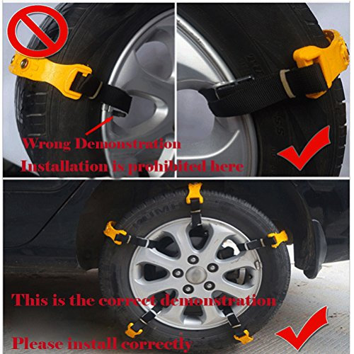 Snow Chains 10 Pcs Anti Slip Tire Chains Adjustable Emergency Traction Security Car Tire Snow Chains Fit for Most Car SUV Truck by BiBOSS (Image #7)