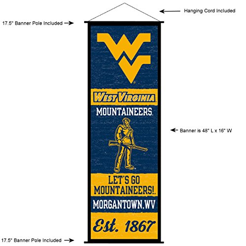 West Virginia Mountaineers Banner and Scroll Sign