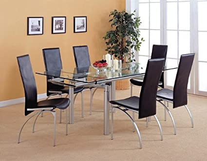 Amazon.com - 5pc Contemporary Pearl Silver Metal Dining ...