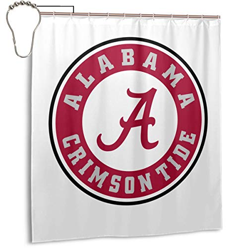 Alabama Logo Shower Curtain Set with 12 Hooks Polyester Fabric Bath Curtains Waterproof Decorative Thick Bathroom Curtain 66