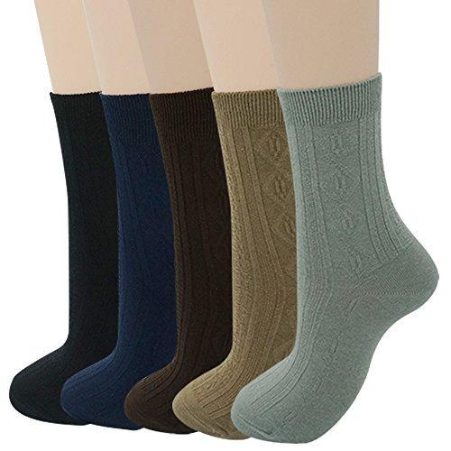 Womens Crew Socks Cotton Solid Color Basics Comfy Retro Dress Socks 5Pack ¡