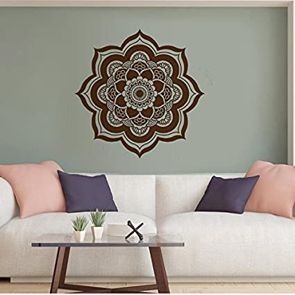 Mandala Wall Decal Yoga Studio Vinyl Sticker VERSION 2 Flower Mamaste Vinyl  Wall Art Decor OM