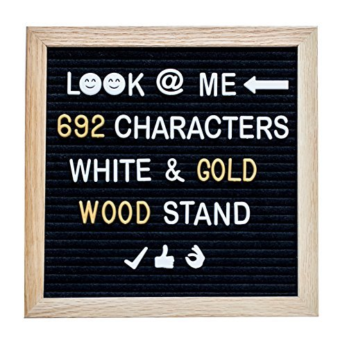 Announcements Housewarming Invitations - Letter Board with 692 Gold and White Changeable Letters and Emoji, 10 x 10 inches Oak Frame and Black Felt Board + Wooden Stand + 2 Drawstring Cotton Bags + Clippers + Shaving File.