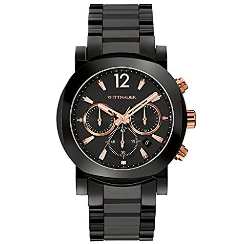 Wittnauer Black Ceramic Rose Gold Accented Watch WN3011