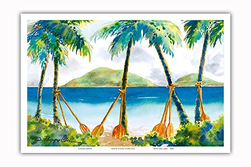 Pacifica Island Art Paddling to Church - Hawaiian Canoe Paddles (Hoe) against Palm Trees - From an Original Hawaii Watercolor Painting by Peggy Chun - Master Art Print - 12in (Canoe Paddling Hawaii)