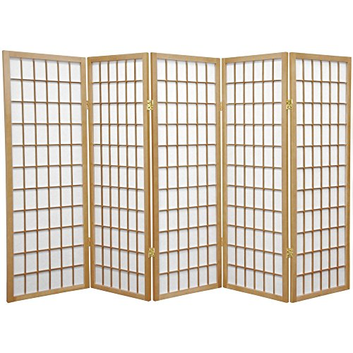 Oriental Furniture 4 ft. Tall Window Pane Shoji Screen - Natural - 5 Panels ()