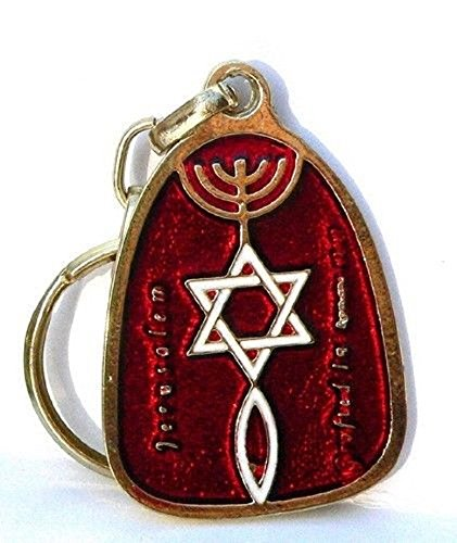 (Red Key Chain Ring Messianic Seal Israel Holyland Jerusalem)