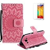 Funyye Strap Magnetic Flip Cover for Samsung Galaxy J5 2016,Premium Pink Embossed Sunflower Pattern Folio Wallet Case with Stand Credit Card Holder Slots Case for Samsung Galaxy J510,Shockproof Ultra Thin Slim Fit Full Body PU Leather Case for Samsung Galaxy J5 2016/J510 + 1 x Free Screen Protector