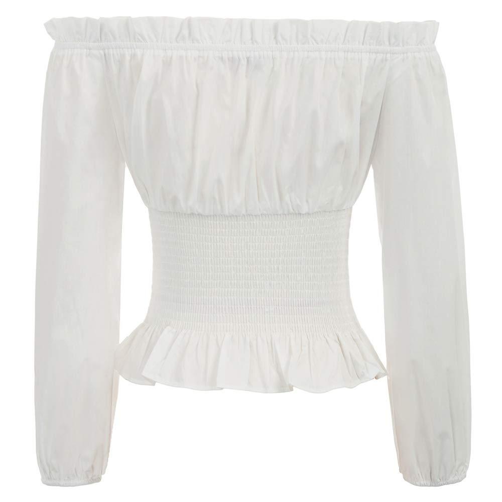 SCARLET DARKNESS Camisa de Verano Elegante renacentista g/ótica Vintage para Mujer sin manicha Blusas sin Mangas