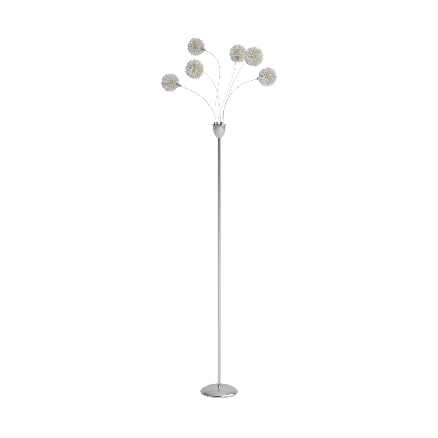 Adesso Pom Pom 6 Light Floor Lamp 68 High Satin Steel Finish Corrosion Resistant Scratch Proof Smart Outlet Compatible Home Decor Accessory Electronics