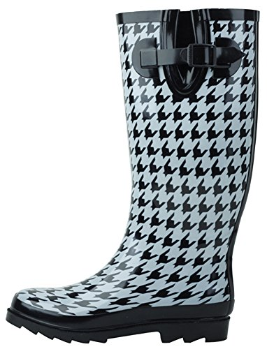 (Cambridge Select Women's Waterproof Pattern Print Knee High Welly Rain Boot (11 B(M) US, Houndstooth))